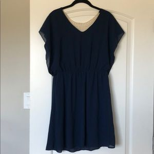 Dresses & Skirts - Navy blue dress with cream crochet back detail